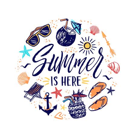 Summer is here hand drawn banner with sun, sunglasses, cocktails. Summer sketch vacation elements illustration Vektoros illusztráció