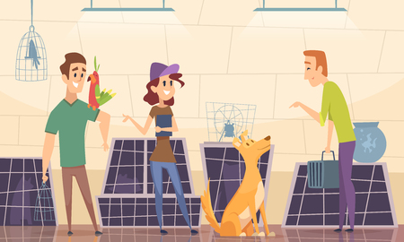 Animal shelter. Owners choose puppy dog in cage vector cartoon background. Animal nursery, kitty and puppy illustration Standard-Bild - 122902802