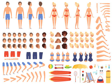 Summer people. Creation kit collection of body parts male and female summer characters swimsuit vector vacation travelers collection. Constructor character woman and man body illustration