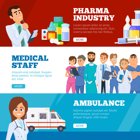 Medical banners. Doctors ambulance and pharma industry medicaments vector flat web online banners. Medical doctor and banner for clinic support illustration Vectores