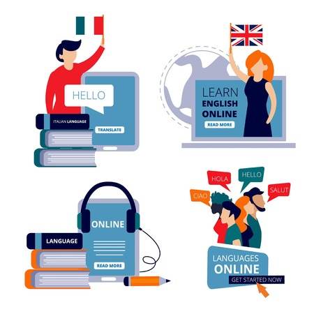 Language courses. Study english learning chinese italian use dictionary for learning training center vector concept pictures. Illustration of training e-learning, tutorial webinar language course