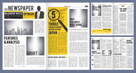 Newspaper headline. Press layout template of newspaper cover and pages with articles vector design. Newspaper finance and breaking news, daily publication information illustration