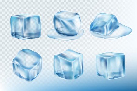Eiswürfel realistisch. Pfützen, Flecken und Spritzer von gefrorenem Wasser, Vektorbildersammlung. Gefrierkristall, feste Eiswürfelillustration