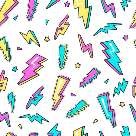 Thunderbolt pattern. Sky lightning warning voltage symbols electricity flash vector seamless background. Thunderbolt danger, warning power lightning illustration Ilustrace