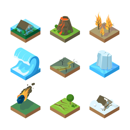 Natural disasters. Vulcano tornado thunderstorm fire in forest water flood tsunami vector isometric illustrations. Tsunami and earthquake, wave and volcano