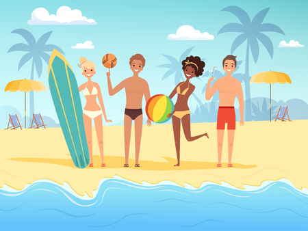 Summer travellers. Male and female happy people playing at the summer sunshine beach near ocean or sea vector background. People sea summer beach, activity playing on coast illustration