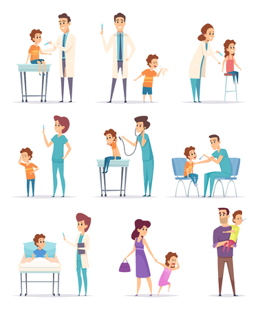 Vaccination. Childrens in hospital with doctor making injection girls and boys vector medical illustrations. Illustration of doctor shot injection vaccine