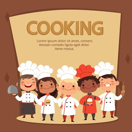 Los personajes de los niños preparan la comida. Cocinar la plantilla del vector de la bandera de los cocineros de los niños. Chef restaurante niños, niños culinarios ilustración