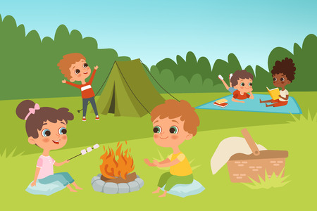 Kids summer camp vector background with children characters and camping elements. Illustration of summer kids outdoor, bonfire and picnic