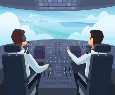 Airplane cockpit. Pilots sitting front of dashboard aircraft inside vector cartoon illustrations. Captain pilit flight, dashboard plane in cockpit