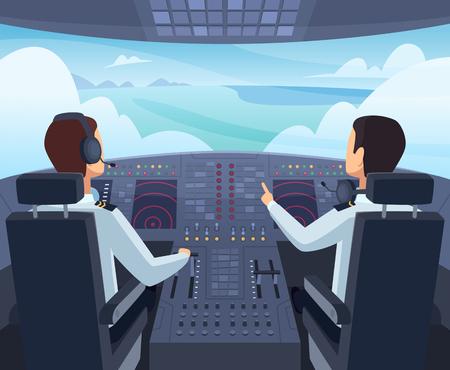 Flugzeug-Cockpit. Piloten sitzen vor Armaturenbrett-Flugzeugen in Vektorgrafiken Kapitän Pilotflug, Armaturenbrett Flugzeug im Cockpit