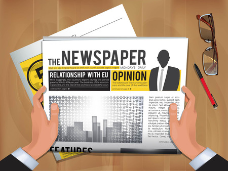 Newspaper in hands. Daily news businessman hold and reading hot announce in newspaper cover vector template. Illustration of news daily, newspaper publication with headline Illustration