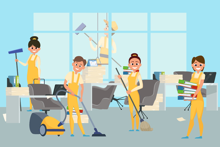 Cleaning staff team in office vector illustration. Housekeeping team, office wash and clean