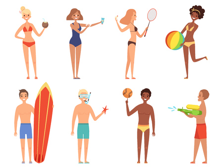 Summer holiday characters. Woman in bikini have a rest on the beach girls in swimsuit playing vector cartoon people. Illustration of man and woman in swimsuit with cocktail or surfboard