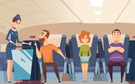 Avia passengers. Boarding stewardess offers food to sitting man in airplane board vector cartoon background. Illustration of airplane stewardess, professional hostess transport Ilustrace