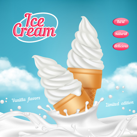 Ice cream ads. Natural frozen ice cream dessert with fruits vector realistic picture template for advertizing placard. Ice cream cone realistic, delicious gelato illustration