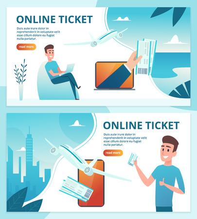 Vliegticket online. Bestel avia-tickets met behulp van een websjabloon voor de bestemmingspagina van een mobiele smartphone. Vliegtuigservice, avia toerisme illustratie