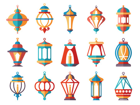 Islamic lanterns. Colored ramadan lamp muslim vector symbols collection isolated on white background