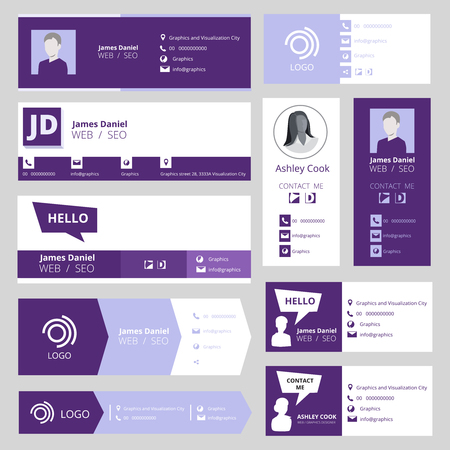 Email signature template. Office business visit cards for webmail user interface vector set. Individual profile web info, professional contact illustration 矢量图像