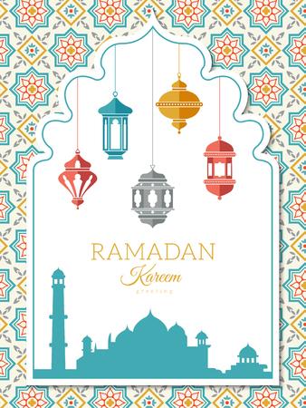 Fondo de lámpara árabe. Banner de decoración de Ramadán, tarjeta de felicitación o invitación a una celebración con linternas de símbolos musulmanes del islam vector ilustración árabe