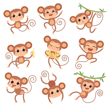 Baby monkey. Wild cartoon animals playing and eating banana vector characters of monkeys. Monkey and primate character with banana illustration