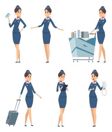 Stewardess. Woman hostess professional blue uniform of boarding airplane girl vector cartoon characters. Stewardess and hostess attendant illustration