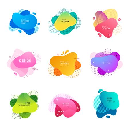 logo de Memphis. Modèle vectoriel de projets de conception de peinture de formes colorées décoratives abstraites. Illustration fluide colorée dynamique de Memphis