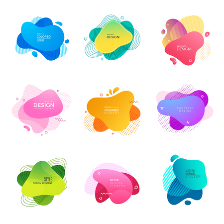 Memphis logo. Abstract decorative colored shapes paint design projects vector template. Memphis dynamic colored fluid illustration