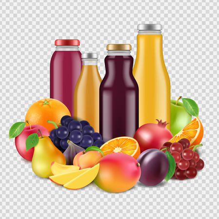 Realistic fruits and juices vector isolated on transparent background. Organic juicy fresh, mango and grape, pear and orange, apple and pomegranate illustration Vettoriali