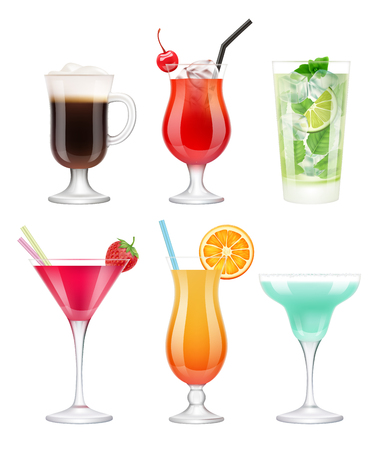 Alcoholic cocktails. Glasses with drinks tropical fruits decorated blue margarita vodka martini vector realistic template. Illustration of cocktail drink, alcohol mojito and margarita in glass
