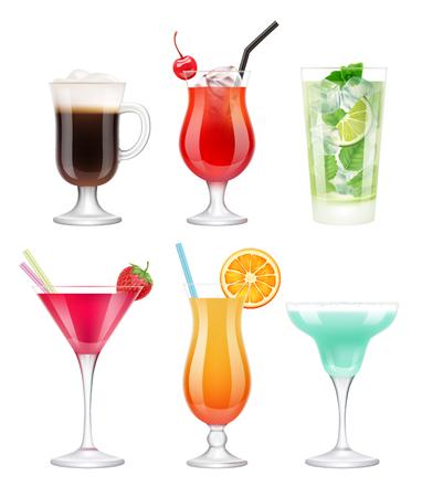 Cócteles alcohólicos. Vasos con bebidas de frutas tropicales decoradas azul margarita vodka martini vector plantilla realista. Ilustración de cóctel, mojito de alcohol y margarita en vidrio