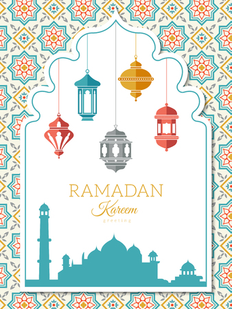Arabic lamp background. Ramadan decoration banner, greeting card or invitation to a celebration with muslim islam symbols lanterns vector arabic illustration Vectores