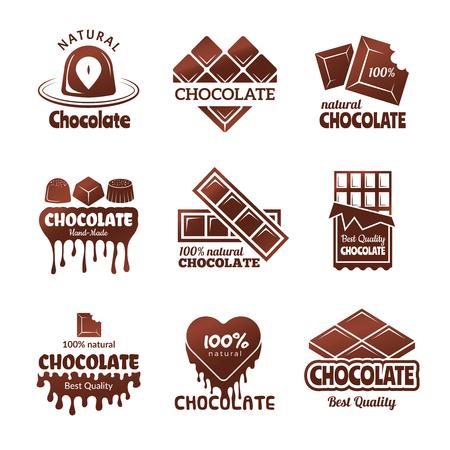 Logotipo de chocolate. Dulces insignias estilizadas chef y cocina cocina postres concepto ilustraciones vectoriales. Dulces de chocolate y postre, etiqueta e insignia para menú de pastelería Logos