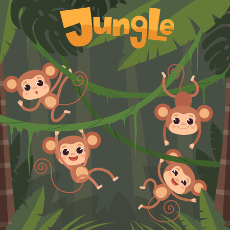 Monkey playing. Little wild animals sitting and eating banana on jungle tree vector chimpanzee cartoon background. Illustration of cartoon wildlife chimpanzee swinging and hanging