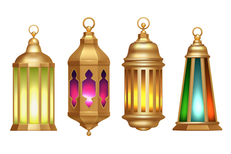 Ramadan lanterns. Muslim islamic vintage lamps 3d realistic vector illustrations isolated on white
