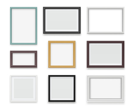Vintage frames. Wooden painting and photo empty boards for exhibition vector template realistic. Illustration of gallery frame for photo or picture painting Ilustracje wektorowe