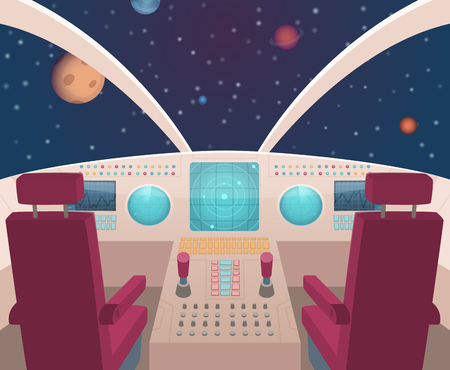 Spaceship cockpit. Shuttle inside interior with dashboard panel vector illustration in cartoon style. Rocket ship inside, spacecraft dashboard