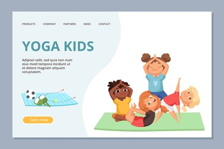 Yoga kigs characters. Kids sport and yoga training vector landing page template. Illustration of fitness kid yoga, meditation and balance