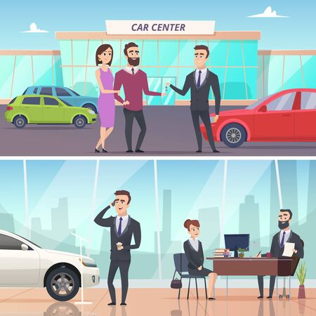 Buying car. Sell and rent auto in car exhibition advertising banners concept vector characters. Illustration of auto buy, new automobile Vectores