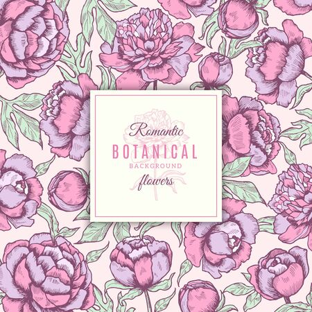 Floral background. Botanical frames of peonies flowers with leaves wedding vector concept hand drawn. Illustration of color blossom peony, gardening flora blooming Ilustração