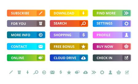 Web buttons. Internet modern colored flat icons and buttons template vector ui elements. Illustration of ui web button template, website navigation interface Çizim