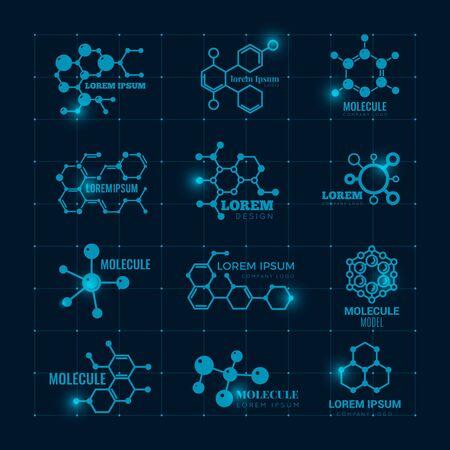 Molecular logo with shine effect. Chemistry dna molecule scientific structure atom icons vector set. Illustration of dna molecule, molecular atom research logo Illustration