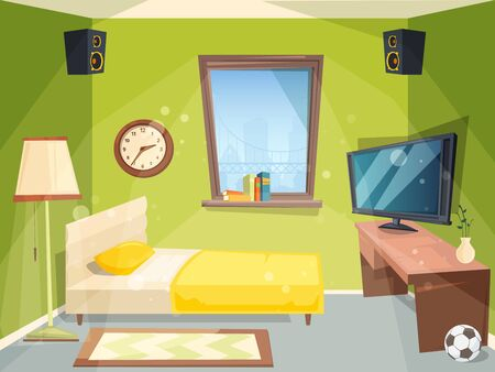 Teen room. Small bedroom for kids student apartment inside of house modern interior vector cartoon. Illustration of interior bedroom teenager, apartment workspace student Illustration