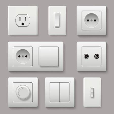 Interruptor de pared. Energía toma de corriente eléctrica apague y encienda imágenes realistas vectoriales de enchufe. Enchufe eléctrico eléctrico, ilustración de enchufes de electricidad de potencia Ilustración de vector