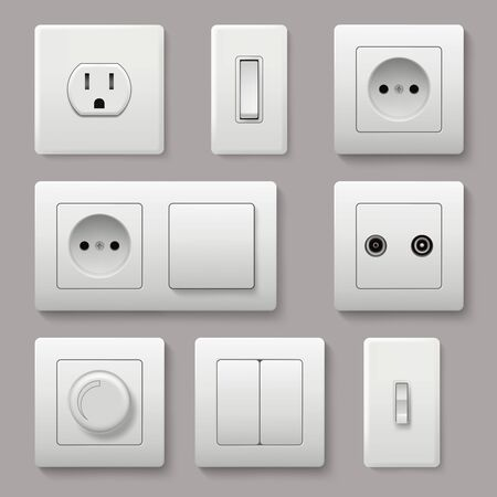 Wall switch. Power electrical socket electricity turn of and on plug vector realistic pictures. Electrical plug electric, power electricity sockets illustration 向量圖像
