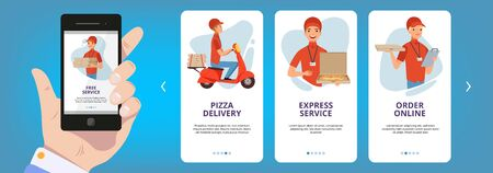 Onboarding screens. Internet web cards frame layout app for food pizza online order vector templates collection. Pizza online and fast service delivery illustration