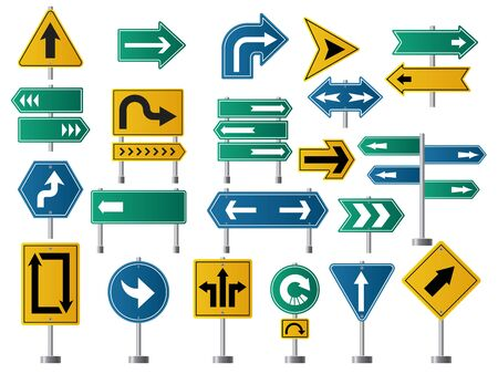 Arrows direction. Road signs for street or highway traffic navigation vector pictures of arrows. Illustration of roadside signpost, roadsign and board guide