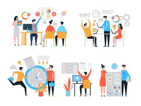 Organizacja pracy. Wydajność osób zarządzających zadaniami organizuje wydajność procesów, stylizowane postacie wektorowe. Zarządzanie czasem i organizacja, projekt efektywnościowy, ilustracja planowania biznesmena