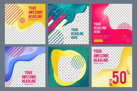 Editable social banners. Simple web visual offers web media content square business banners vector images template. Advertising offer banner with abstract pattern, flyer with headline illustration Banque d'images - 124906643