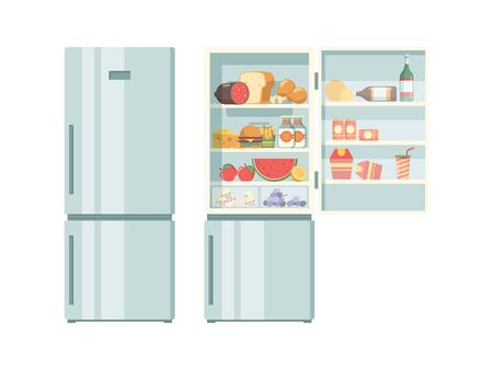 Open refrigerator. Healthy food in frozy refrigerator vegetables meat juce cakes steak supermarket products vector pictures. Illustration of refrigerator with bottle beverage and food Çizim